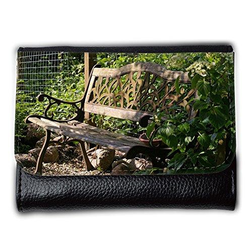 Portemonnaie Geldbörse Brieftasche // M00290833 Garten-Bank Bank Lehne Sitz Holz // Medium Size Wallet