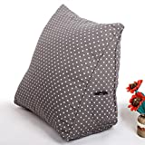 Kenmont Luxus Lendenkissen LesekissenRückenkissenBücherkissenFernsehkissen Bedrest Weich Plüsch Kissen für Auto, Bett, Büro-Stuhl und Sofa, Ergokissen (Grey Dots)