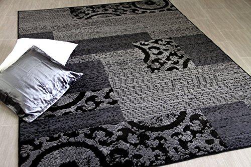 TRENDLINE - Alfombra Moderna - diseño de Patchwork - Gris Negro - 5 t