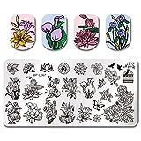 Born Pretty Schablone Stempel Platte Blume Rechteck Maniküre Nail Art Bild Platte BPL-67