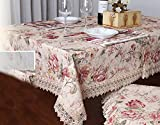 Di Grazia Luxury Table Cloth; Pastel Colour, Floral Design Table Cover with Lace (110*160 cms)