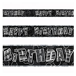 Gifts 4 All Occasions Limited SHATCHI-119 - Pancarta de papel de aluminio para decoración de cumpleaños, 3,65 m, color negro