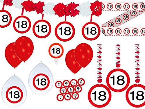 23-tlg. Partyset 18. Geburtstag Dekoset Dekobox - Verkehrschild - Girlanden, Luftballons (18)