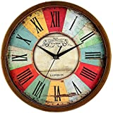 "Elios 12"" Round Designer Vintage Wall Clock with Glass for Home / Kitchen / Living Room / Bedroom (Silent Non Ticking Movement)"