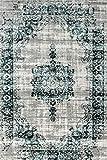 LIFA LIVING Vintage Teppich | im schönen Vintage Muster | für Wohnzimmer und Schlafzimmer | Farb und Größen Variationen | (Dunkelgrau/Dunkelblau, 160 x 230 cm)