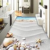 Rureng Pvc Selbstklebende Wasserdichte 3D Bodenfliesen Tapete Moderne Strand Shell Foto Wandbild Badezimmer Wohnzimmer Wand Papier Aufkleber 3 D
