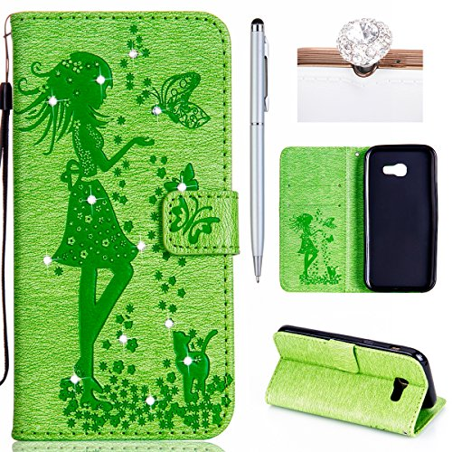 Felfy Coque Etui pour Samsung Galaxy A5 2017,Galaxy A5 2017 Coque Dragonne Portefeuille PU Cuir Etui,Galaxy A5 2017 Etui Cuir Folio Housse Rouge Tournesol 3D en Relief Motif Leather Case Wallet Flip P Chat Herbe Verte