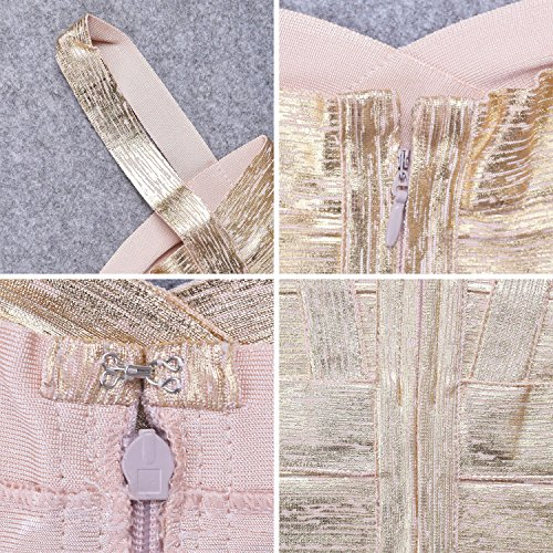 HLBandage Spaghetti Bügel Damen Kunstseide Mini Verband Kleid Gold