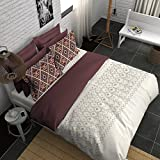 Boutique Living India Smooth & Silky Touch Sateen Printed King Bedsheet With 2 Pillow Covers - Geometric, Beige And Brown