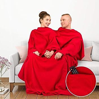 MostroMania - Coperta XXL per Coppie - Coperta per Due - Coperta Rossa con Maniche - Vestaglia per Coppie - Accessori da Divano - Accessori per Coppie