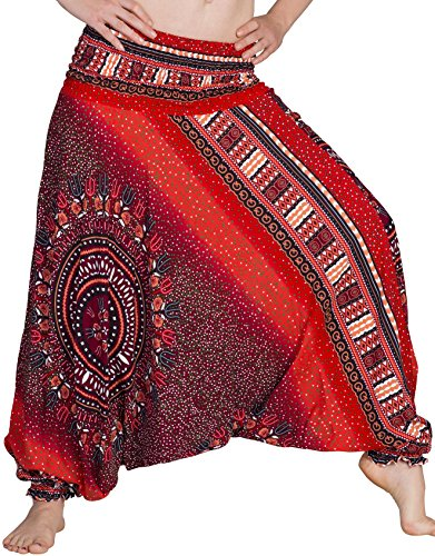 Zarlena Damen Pumphose Haremshose Pluderhose Hose Aladinhose Rot 520