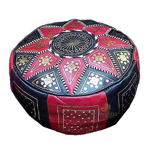 Medina Souvenirs Fassi osmanischen Leder rot und schwarz, große Runde osmanischen echtes Leder handgefertigt - Gefüllt -