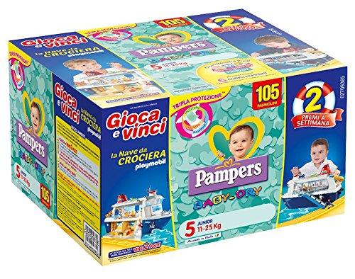 Pampers Baby Dry Pannolini Junior, Taglia 5 (11-25 kg), 105 Pannolini