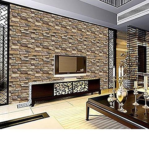 3D Ziegel Tapete rustikale Wirkung, Huihong selbstklebend Ziegel Muster Tapete, Foto Tapeten ~ Wandaufkleber für Schlafzimmer Wohnzimmer moderne TV-Schlafzimmer Wohnzimmer Dekor