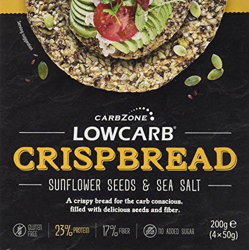 CarbZone Kohlenhydratarmes Brot von Low-Knäckebrot Sonnenblumenkerne und Meersalz, 1er Pack (1 x 200 g)