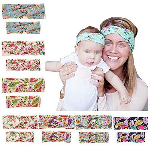 Luckystaryuan Lucky staryuan Black Friday 8sets Parent-Child Baby Printing Butterfly Headband (mom and baby gift)
