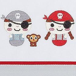 Juego de sábanas de algodón con piratas 80 x 130 cm.