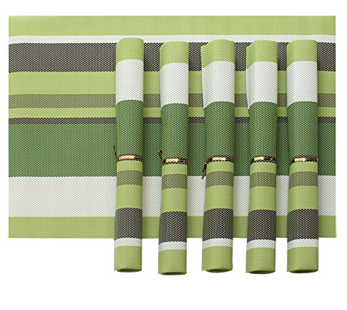 Tiedribbons&Reg; Pvc Placemats for Dining Table Set of 6 (30 cm X 45 cm)(Mysterious Green)