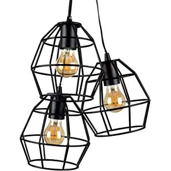 Retro Style 3 Way Satin Black Metal Basket Cage Pendant Ceiling