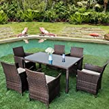Leisure Zone 7 Pieces Outdoor Dining Set with Glass Top PE Wicker Rattan Patio Garden Furniture Set (Brown)