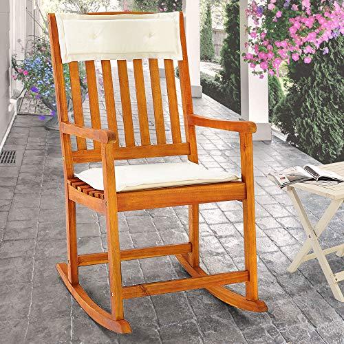 Schaukelstuhl Kissen Gartenstuhl Hartholz Holz Liegestuhl Gartenmöbel Stuhl Garten - 2