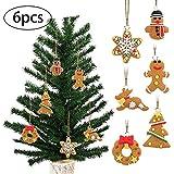 Xiton 6 PC/Set Weihnachtsbaum Anhänger Schöner Lebkuchen-Mann-Wind Chime Vogel Engel für Weihnachtsdekor (Multicolor)