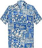 LA LEELA Shirt Camicia Hawaiana Uomo XS - 5XL Manica Corta Hawaii Tasca-Frontale Stampa Hawaiano Casuale Regular Fit Blu993 XL