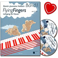 Flying Fingers Band 1–Pianoforte scuola di Daniel hellbach con 2CD–lavoro Materiale per tecnica, improvvisazione, teoria e note di conoscenze–con cuore colorato note–Fermagli