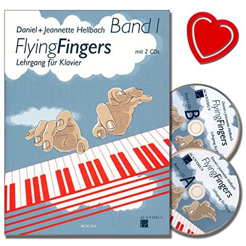 Flying Fingers Band 1 - Klavierschule von Daniel Hellbach mit 2CDs - Arbeitsmaterial für Technik, Improvisation, Theorie und Notenkenntnissen - mit bunter herzförmiger Notenklammer