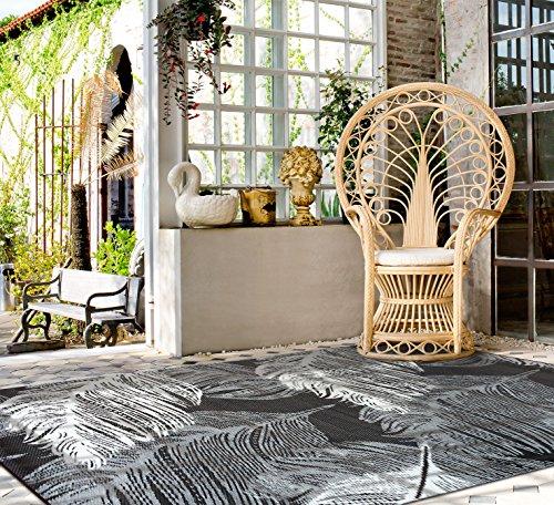 """Green Decore 90 x 150 cm """"Leaves"""" Wendbarer Öko-Teppich aus recyceltem Kunststoff (Plastik) für Innen und Außen / Federleicht, Kastanien-Braun / Beige"""