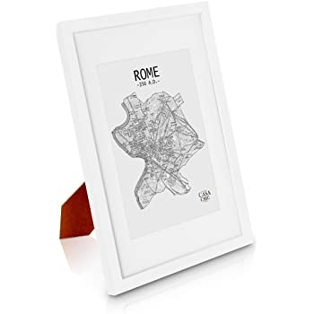 """Solid Wood A4 Photo Frame White - Picture Frame with Mount for 6x8"""" (15x20 centimeters) Photo or Certificate - Glass Front - Frame Width 2 centimeters"""