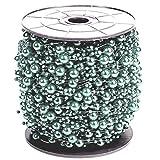 Perlenband Hellblau Perlengirlande 75 Meter I Glänzend I Deko Perlenschnur für Weihnachten / Hochzeit
