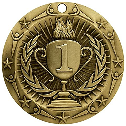 1st Place Gold World Class Medals - Medal Comes with Red, White and Blue V Neck Ribbon - Made of Strong and Resilient Zinc Material - Perfect for Sports, School or Office Competition - Decade Awards