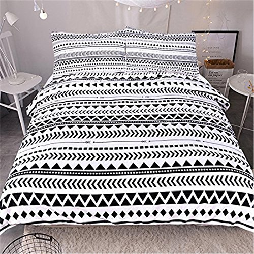 HUANZI 3pcs Bettdecken-Sets schwarz und weiß Triangle Stripe Bettdecke Sets Bettdecke Decke mit Kissen Koffer, Twin - Sets Twin-bettdecken