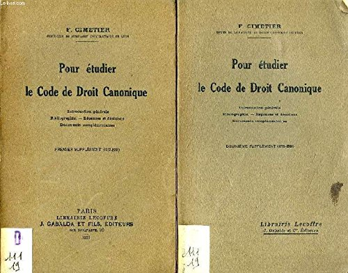 POUR ETUDIER LE CODE DE DROIT CANONIQUE, 1er SUPPLEMENT