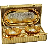 Handicraft Hub India Silver And Gold Plated Mini Bowl Set With Tray And Spoon Set Of 5 Pcs With Gift Box