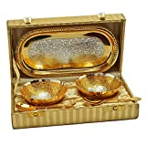 #6: Handicraft Hub India Silver and Gold Plated Mini Bowl set with Tray and Spoon Set of 5 Pcs With Gift Box