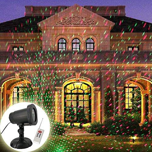 GAXmi Luces de Navidad Control remoto Paisaje Iluminación de inundación Estrellado Rojo verde Luciérnaga Destello Patrón de puntos Impermeable Proyectores Lámpara para exteriores para Jardín Yarda Césped