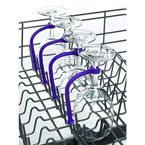 Weinglashalter, TPulling 4 Stück Einstellen Silikon Weinglas Geschirrspüler Becherhalter Weingläser Halter Wein Champagner Cup Hangers Rack Halter mit Schrauben Safer Stemware Saver (Lila) -