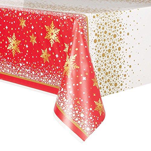 Unique Party 58013Gold Sparkle Weihnachten Kunststoff Tischdecke, 2.13 m x 1.37 m