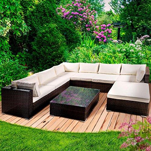 Poly Rattan Gartenmöbel Lounge Möbel Sitzgarnitur Gartengarnitur Sitzgruppe Sofa Luxus Farbe Braun