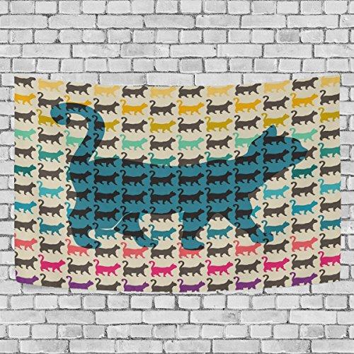 coosun Colorful Katzen mit gebogenen Tails Tapisserie Wandbehang Wand Home decorarion für Wohnzimmer Schlafzimmer Wohnheim Dekor, 203,2x 152,4cm, Textil, multi, 90x60(in)