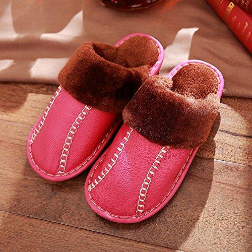 DogHaccd pantofole,Pantofole di cotone femmina spessa soggiorno caldo inverno inverno al coperto le coppie antiscivolo pantofole di peluche maschio Il rosso4