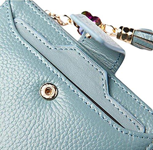 La Signora Della Moda Femminile Piegato Borsa Breve Raccoglitore Della Frizione Della Carta Di Credito Bag Blue