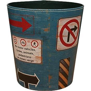 Papierkorb FOKOM Vintage Retro Klassisch Papierkorb B/üro M/ülleimer Abfalleimer PU Leder Papierkorb Trash Bin ohne Deckel