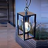CGC Black Aluminium Contemporary Hanging Ceiling Porch Light Outdoor Garden Porch Post Driveway Patio Wall Lamp Weatherproof