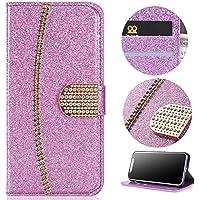 Sycode Funda tipo cartera para iPhone X (piel sintética, cierre magnético, función atril, diseño de diamantes brillantes, con efecto brillante, con ranuras para tarjetas), color morado
