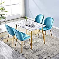 LUXES Rectangle MDF Dining Table Set and 4 Velvet Fabric Dining Chairs Metal Leg Imitation Marble Tabletop