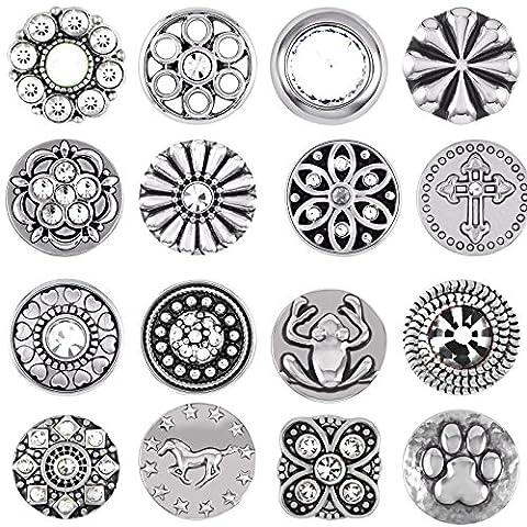 Mini Small Button Druckknopf 12er Set Knopf Petit Klick Armband kompatibel mit Chunks Silber Farben auswahl Schmuck Silber