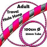 PRO Hula Hoops (Ultra-Grip /Glitter Deco) Gewichtetes TRAVEL Hula Hoop (100cm / 39 ') Hula Hoops Für Übung, Tanz & Fitness! (640g)(Rose / Silber Glitzer)